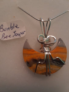 Bumblebee Jasper Crescent Necklace