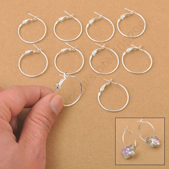 100Pcs 925 Sterling Silver Round Circle Earrings