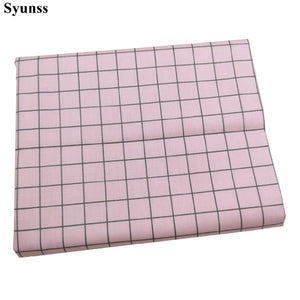 Pink Butterfly Grid Printed Cotton Fabric
