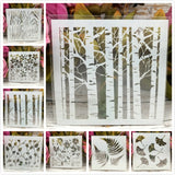 8Pcs/Set 13cm Tree, Leaf Stencils