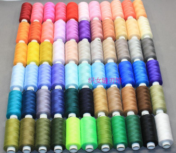 2 strands 1 400 yards = 366 m 100% polyester sewing thread, mixed color