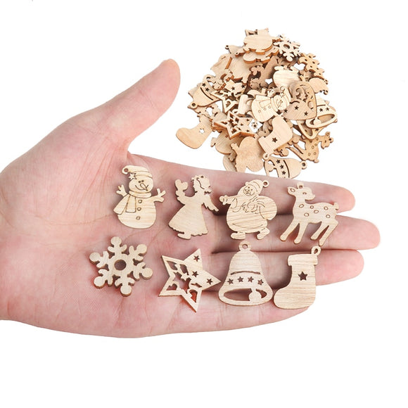 50 pcs Christmas Wooden Decorations