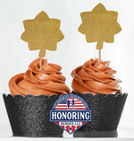 Load image into Gallery viewer, 8ct ARMY Enlisted Rank Cupcake Toppers