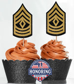 Load image into Gallery viewer, ARMY Enlisted and Officer Cupcake Toppers