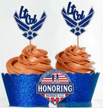 Load image into Gallery viewer, Air Force Rank Emblem Cupcake Topper. USAF Cupcake Topper. Retirement Cupcake Topper