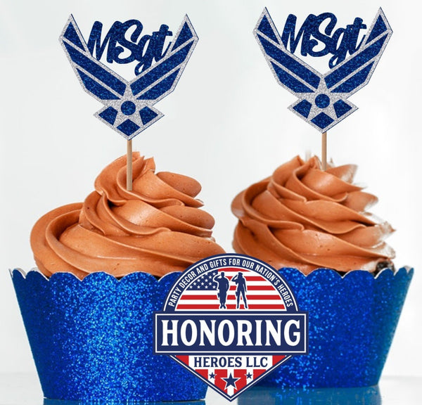 Air Force Emblem with Rank Cupcake Toppers