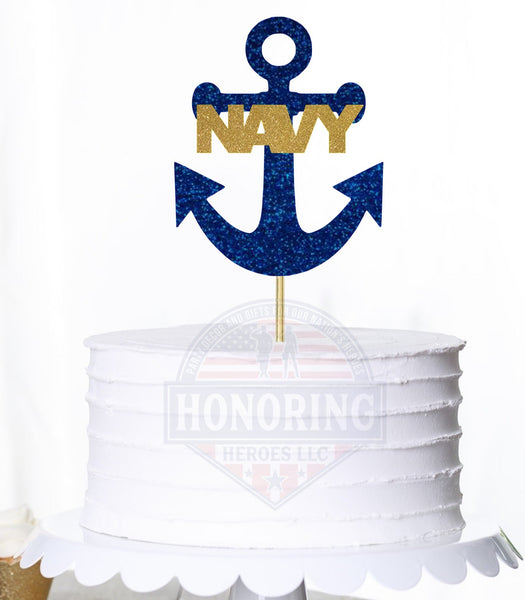NAVY Anchor Cake Topper or Centerpiece