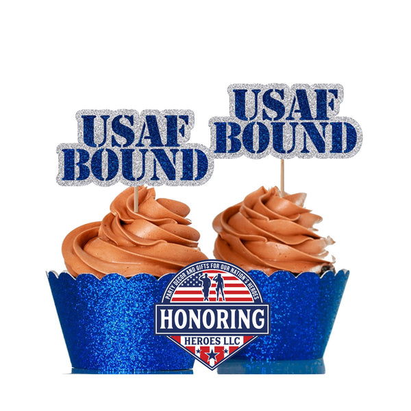USAF BOUND Cupcake Topper. Perfect for Air Force Parties Celebrating a Boot Camp Bound Airman!
