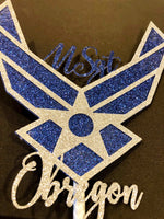 Load image into Gallery viewer, Custom Air Force Emblem Cake Topper.  United States Air Force Custom Cake Topper. USAF