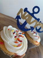 Load image into Gallery viewer, NAVY Anchor Cupcake Topper. USN Cupcake Topper Perfect for any NAVY Related Event! Enlistment, Promotion, Retirement, Commissioning!