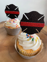 Firefighter Red Line Maletese Cross Cupcake Toppers 8ct