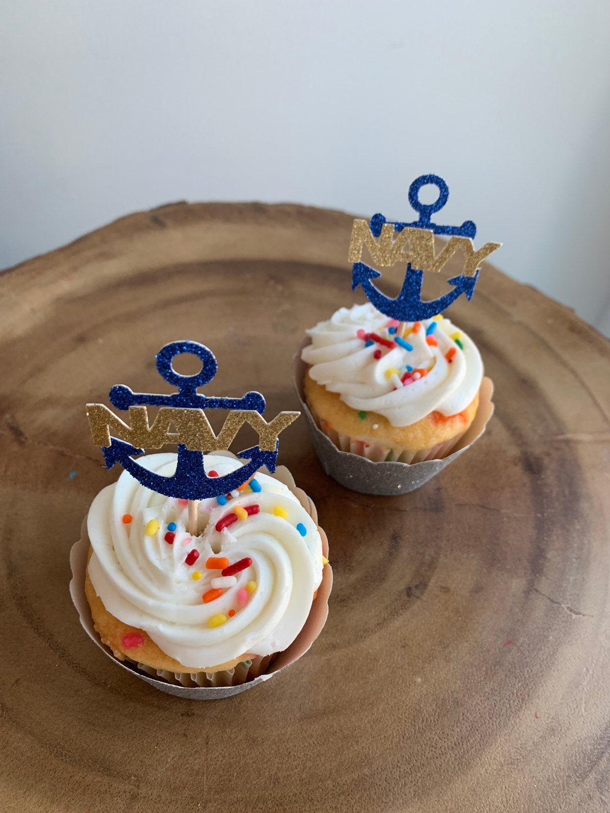 NAVY Anchor Cupcake Topper. USN Cupcake Topper Perfect for any NAVY Related Event! Enlistment, Promotion, Retirement, Commissioning!
