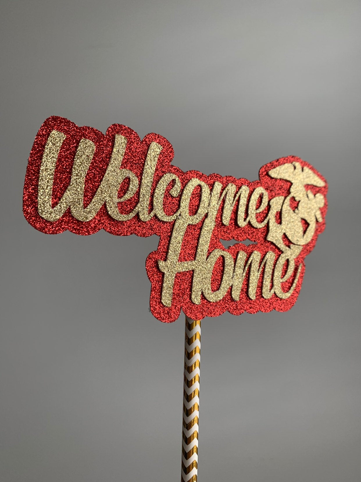 USMC Welcome Home Cake Topper. Marine Corp Welcome Home Centerpiece. Marine Welcome Home USMC Centerpiece