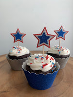 Red, White and Blue USA Star Emblem Cupcake Toppers
