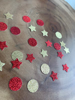 Load image into Gallery viewer, Red and Gold Star and Circle Confetti.