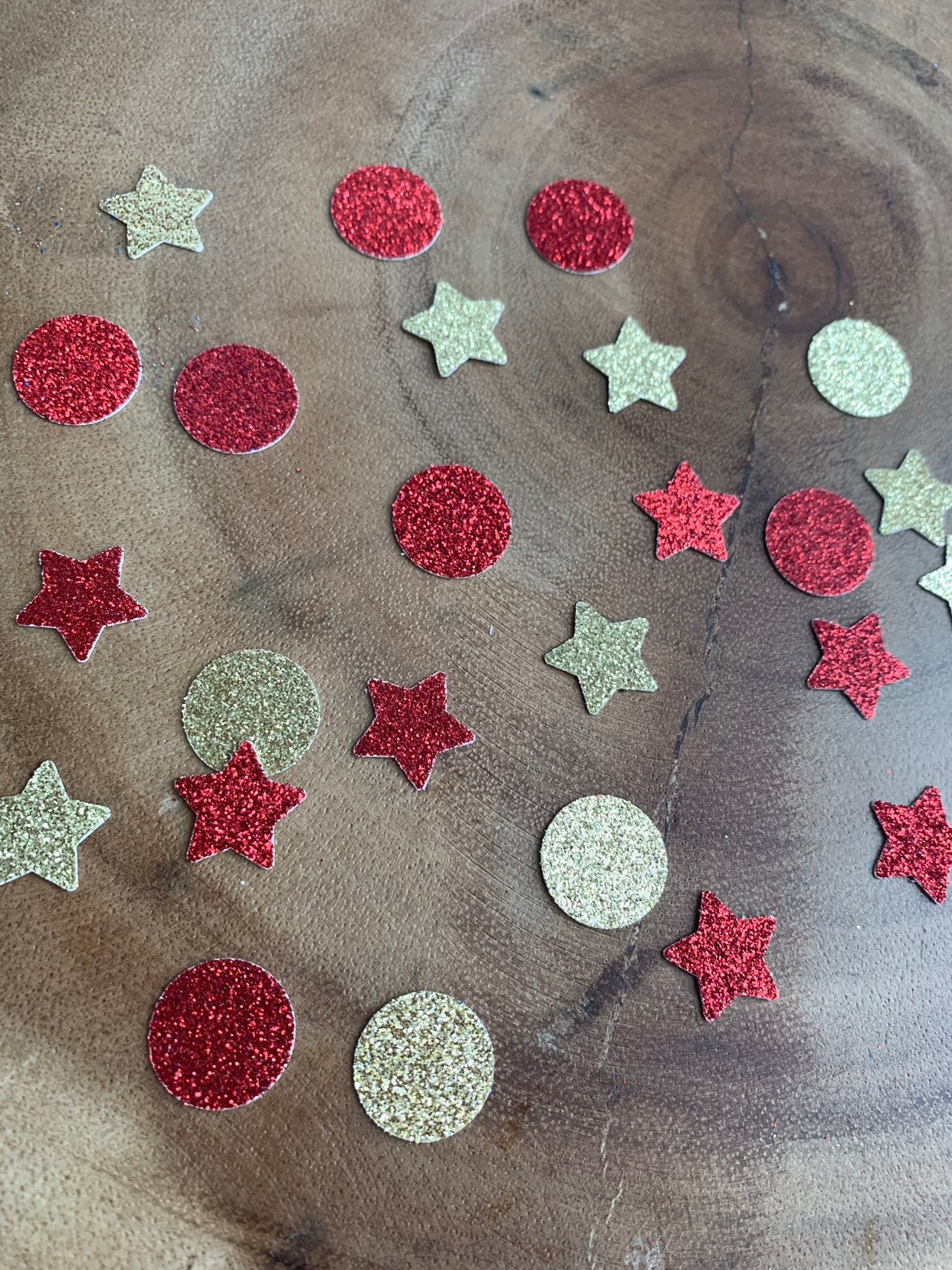 Red and Gold Star and Circle Confetti.