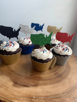 Load image into Gallery viewer, United States Cupcake Topper, USA Cupcakes, Military Party Decor, Patriotic Celebration