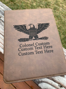 Personalized ARMY, NAVY, Air Force, USMC Officer Notebook Portfolio
