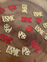 Load image into Gallery viewer, USMC AND Emblem Table Confetti. Marine Confetti Party Decor USMC enlistment, retirement, promotion