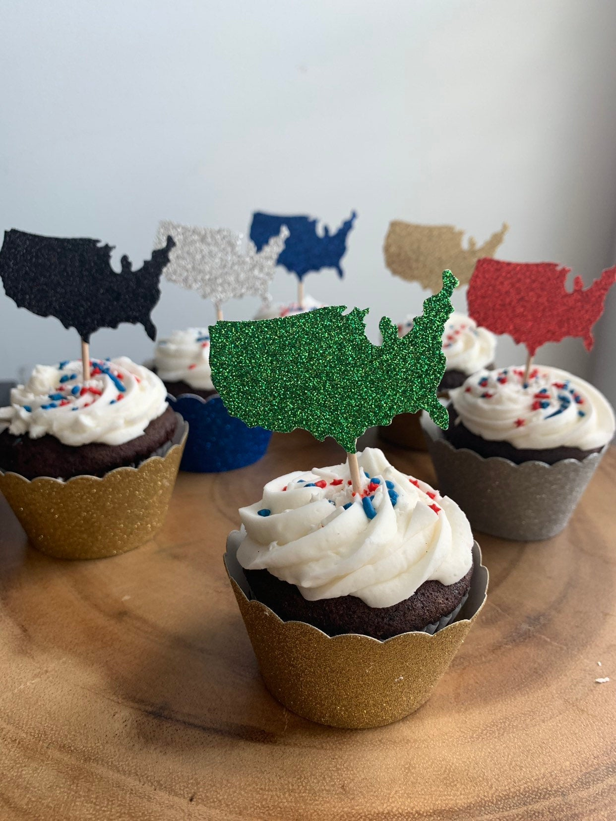 United States Cupcake Topper, USA Cupcakes, Military Party Decor, Patriotic Celebration