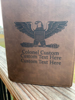 Load image into Gallery viewer, Personalized ARMY, NAVY, Air Force, USMC Officer Notebook Portfolio