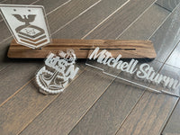Navy Interchangable Name Plate and Rank. Perfect Addition to any NAVY Desk Space! NAVY Promotion Gift