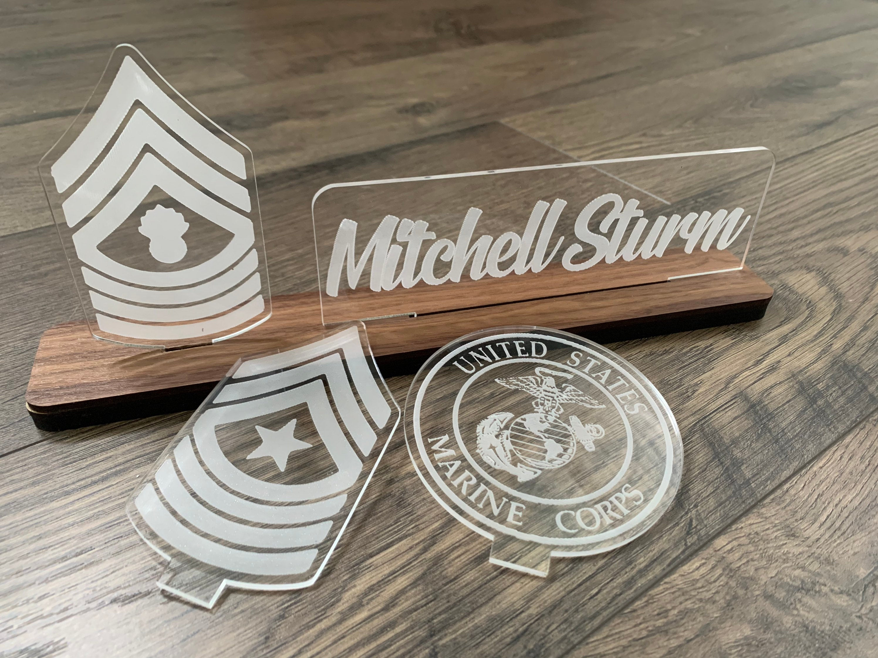 USMC Interchangable Name Plate and Rank. Perfect Addition to any Marine Desk Space! USMC Promotion Gift
