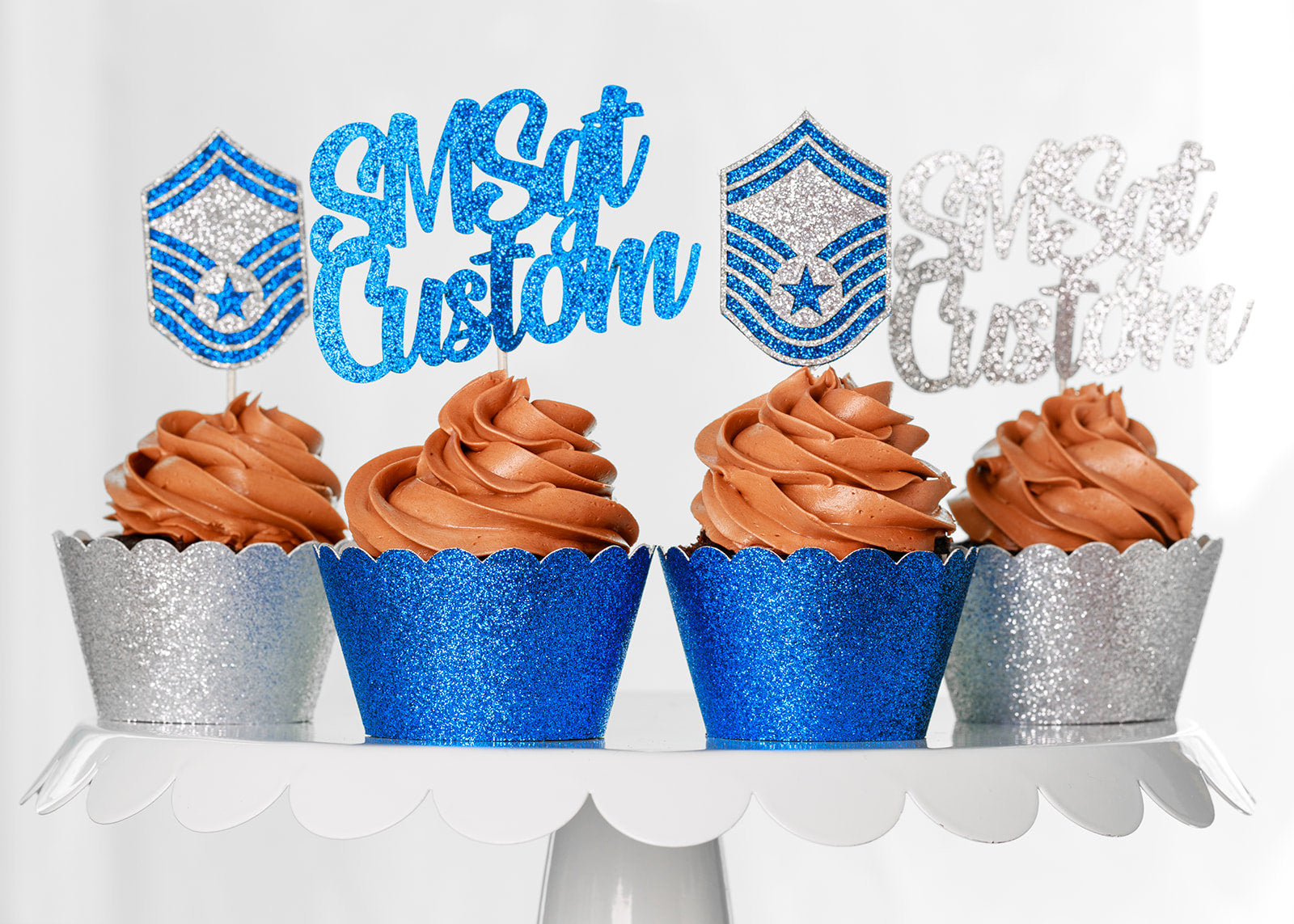 Air Force Enlisted Rank and Personalized Text Cupcake Toppers-USAF Promotion and Retirement Cupcake Toppers. All Enlisted Ranks Available!