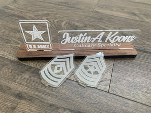 ARMY Interchangeable Name Plate and Rank.