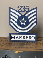 Load image into Gallery viewer, Air Force Self Standing Rank Name Plate