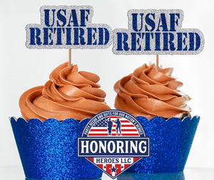 USAF Retired Cupcake Toppers