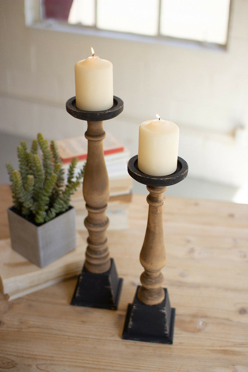 Set of Two Black and Natural Wooden Cadle Stands