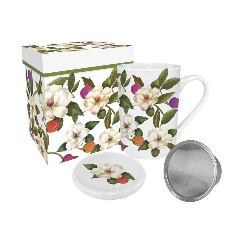 Tea Mug W/Lid & Strnr SO Magnolias