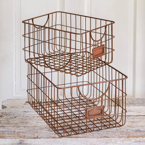 Copper Finish Storage Basket-med