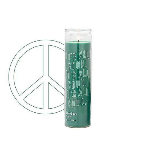 "Spark 10.6 oz Forest Green ""It's All Good"" Prayer Candle/Peace Intention Lavender Thyme"