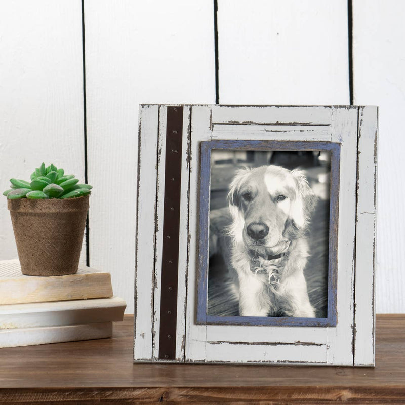 "White/Brown 5x7"" Decorative Distressed Wood Picture Frame"