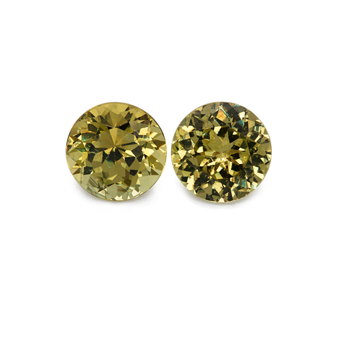 Mali Garnet Pair - yellow, round, 7.5x7.5 mm, 4.07 cts, No. MI10002