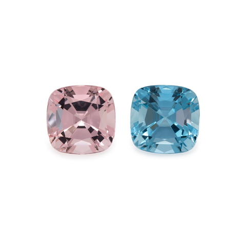 Beryl Pair - pink/blue, cushion, 11x11 mm, 10.2 cts, No. MO25001