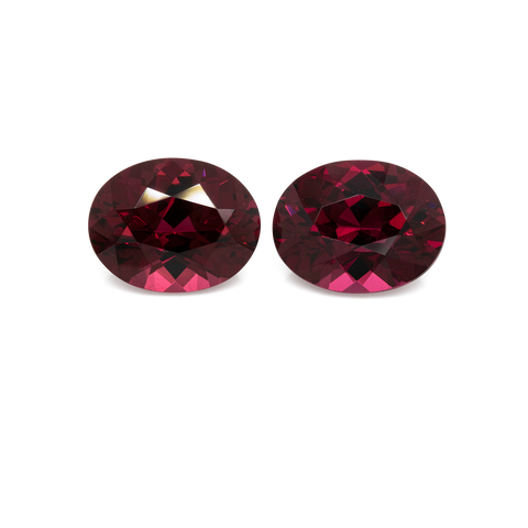 Rhodolite Pair - red, oval, 9x7 mm, 4.62 cts, No. RD92001