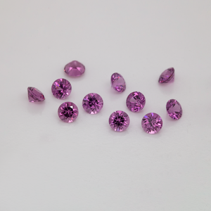 Royal Purple Garnet - lila, rund, 2,4x2,4 mm, 0,064-0,075 cts, Nr. RP63001