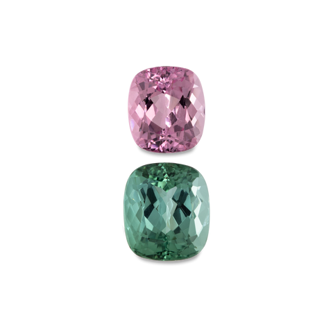 Tourmaline - pink/green, cushion, 8x7 & 9x8 mm, 5.03 cts, No. SET99016
