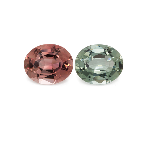 Tourmaline set - pink & green, oval, 11x9 mm, 7.62 cts, No. SET99019