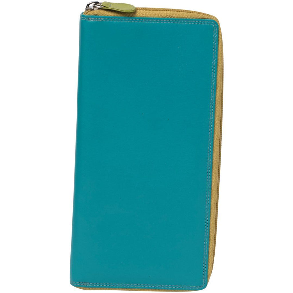 Zane Zip Leather Travel Document Wallet - Teal