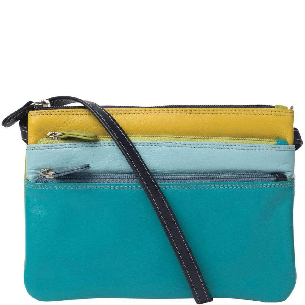 Tess Tri Zip Leather Hip Bag - Teal