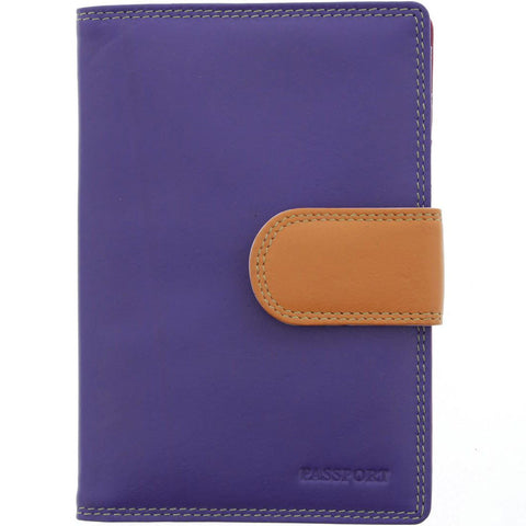 Evie Leather Passport Holder - Purple