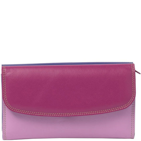 Clara Double Flap Leather Wallet - Purple