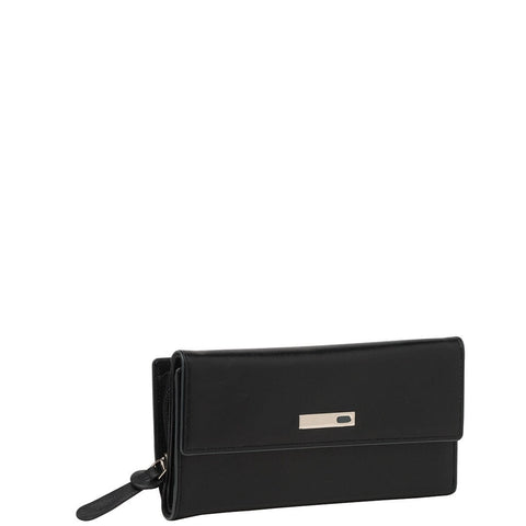 Cobb & Co-Davina Rfid Slim Line Flap Over Leather Wallet-BLACK-Womens Wallet - Gabee Bags | Gabee.com.au - 1
