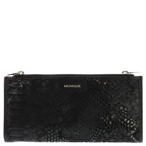 Monique-Aubrey Leather Pony Hair Purse-BLACK-SNAKE-Womens Wallet - Gabee Bags | Gabee.com.au - 2