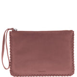 Staten Soft Leather Whipstitch Wristlet