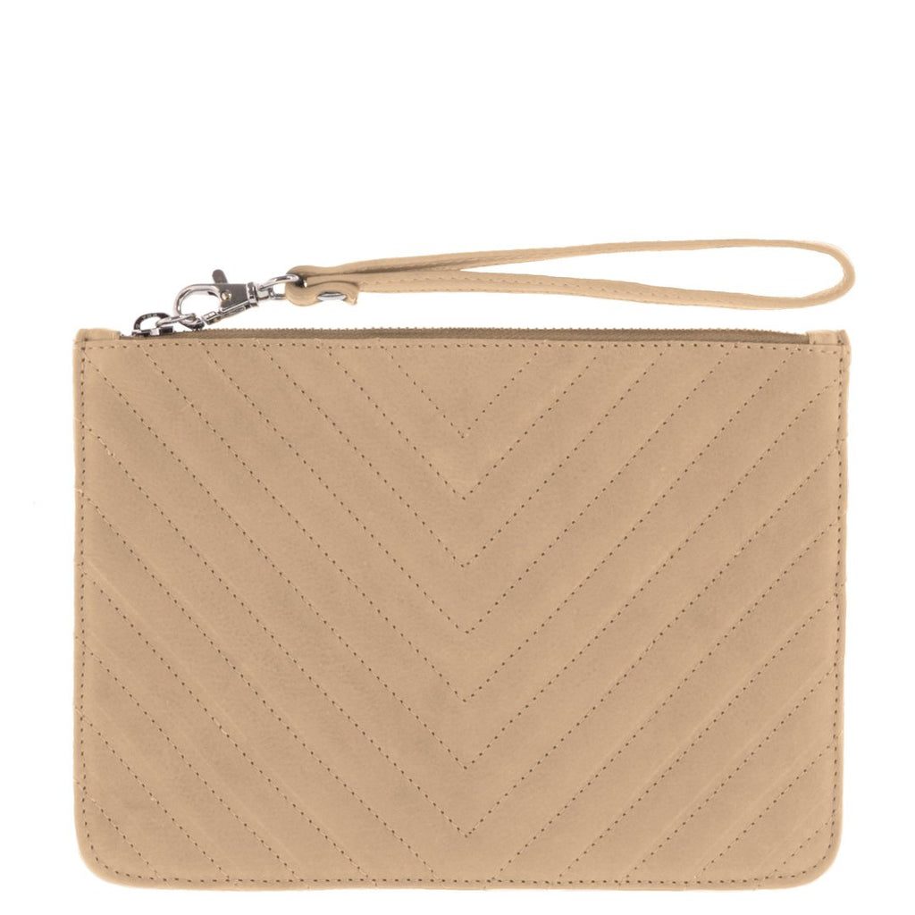 Astrid Quilted Leather Wristlet Pouch